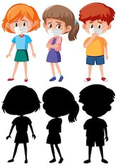 Ensemble de différents enfants portant un personnage de dessin animé de masque avec la silhouette