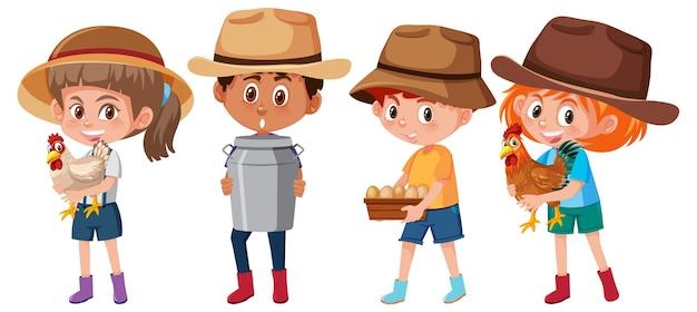 Ensemble de différents enfants tenant le personnage de dessin animé d'élément de ferme