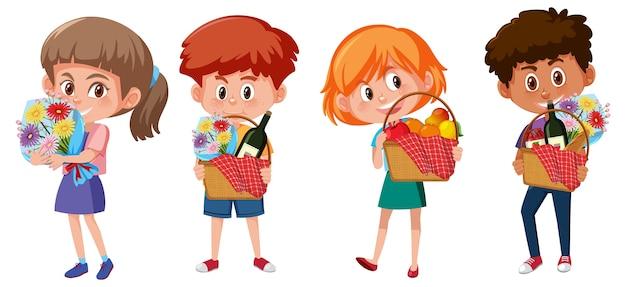 Ensemble de différents enfants tenant le personnage de dessin animé élément pique-nique isolé sur blanc