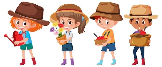 Ensemble de différents enfants tenant le personnage de dessin animé d'outils de jardinage isolé sur fond blanc
