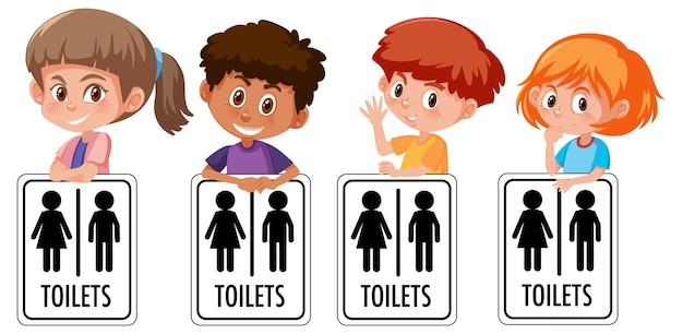 Ensemble de différents enfants tenant signe de toilette isolé sur blanc