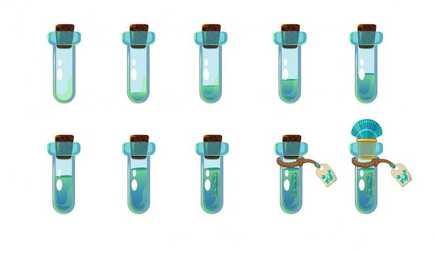 Ensemble de différents états de bouteille avec élixir et coquille bleu océan.