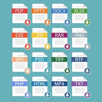 Un ensemble de différents formats de fichiers populaires, téléchargeant des documents de formats populaires.