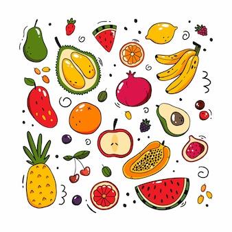 Ensemble de différents fruits et baies dans un style doodle