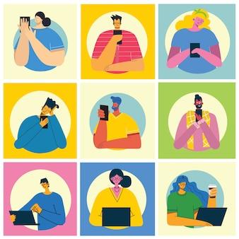 Ensemble de différents jeunes utilisant des téléphones mobiles, socialisant sur internet dans le style plat