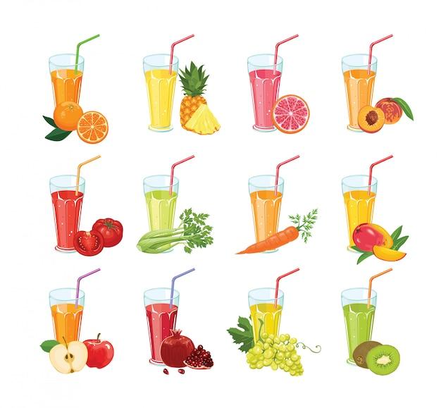 Ensemble de différents jus de fruits et légumes frais dans des verres.