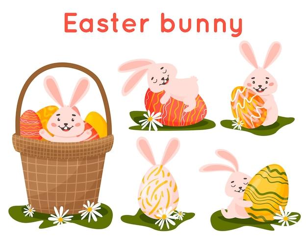 Ensemble de différents lapins de pâques dans un panier embrasse un œuf. dessin animé dessiné à la main.