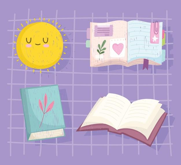 Ensemble de différents livres et illustration du soleil