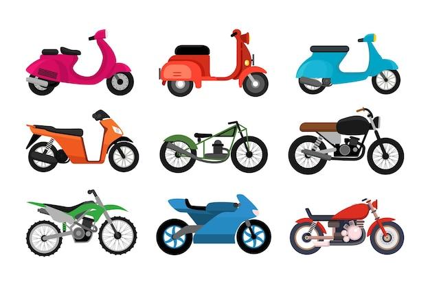 Ensemble de différents modèles de motos isolé sur fond blanc