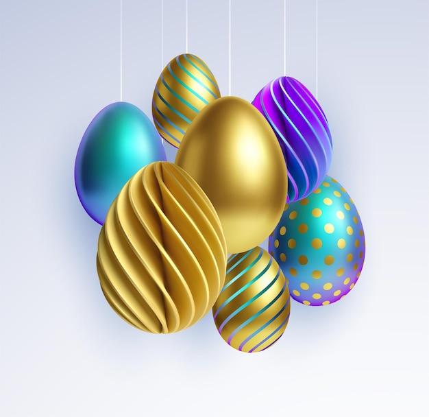 Ensemble de différents oeufs de pâques 3d réalistes, brillants, dorés, holographiques isolés sur fond blanc. illustration vectorielle eps10