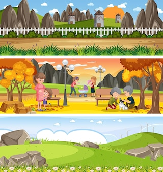 Ensemble de différents paysages naturels panoramiques avec personnage de dessin animé