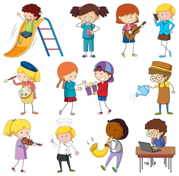 Ensemble de différents personnages de dessins animés pour enfants doodle isolés