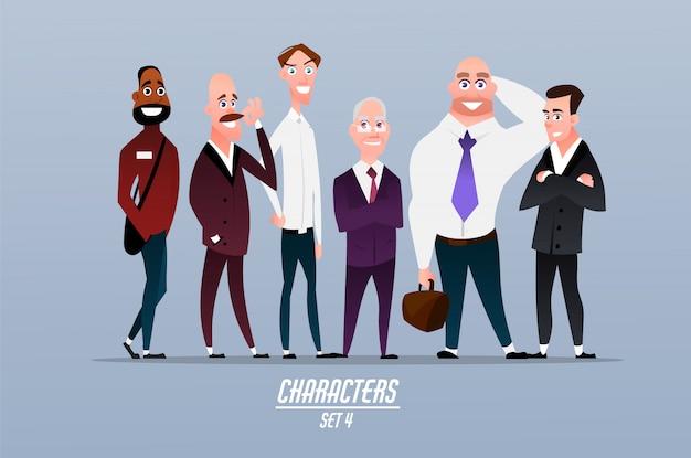 Ensemble de différents personnages d'entrepreneurs, d'hommes d'affaires et d'employés d'entreprises. personnages en style cartoon.