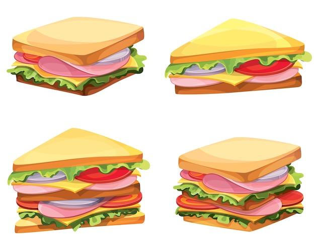 Ensemble de différents sandwichs