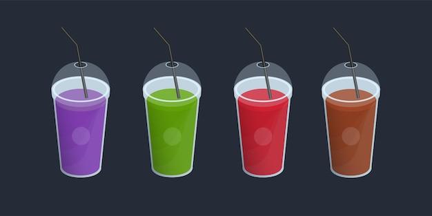Ensemble de différents smoothies dans une tasse en plastique avec couvercle et pailles.
