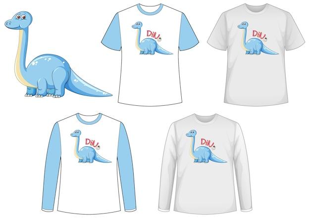 Ensemble de différents t-shirts avec des dinosaures