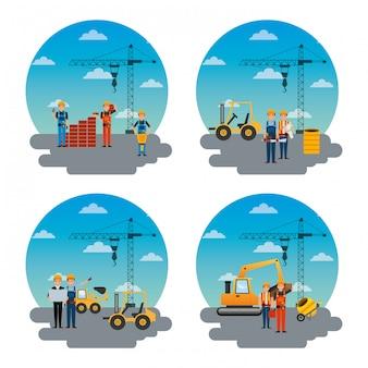 Ensemble de différents travailleurs de la construction et des outils de machines