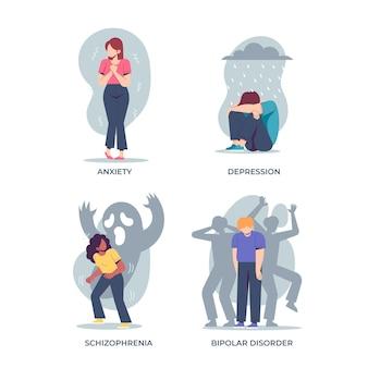 Ensemble de différents troubles mentaux