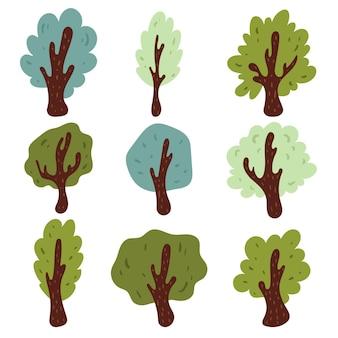 Ensemble de différents types d'arbres dessinés à la main