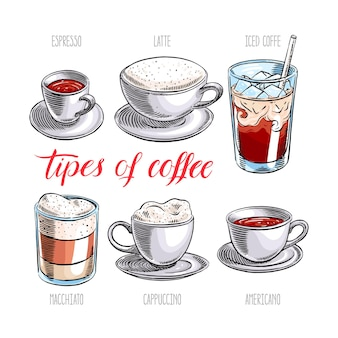 Ensemble de différents types de café. illustration dessinée à la main