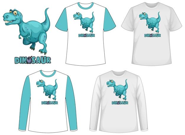 Ensemble de différents types de chemise dans le thème des dinosaures avec logo dinosaure