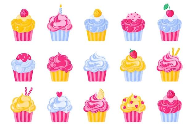 Ensemble de différents types et couleurs de petits gâteaux ou muffins à la crème.