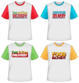 Ensemble de différents types d'écran de logo de livraison sur un t-shirt de couleur différente isolé
