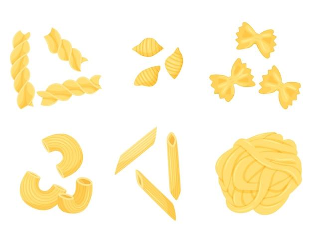 Un ensemble de différents types de pâtes. penne, farfalle, fettuccine, conchiglie, gomiti rigatti, fusilli.