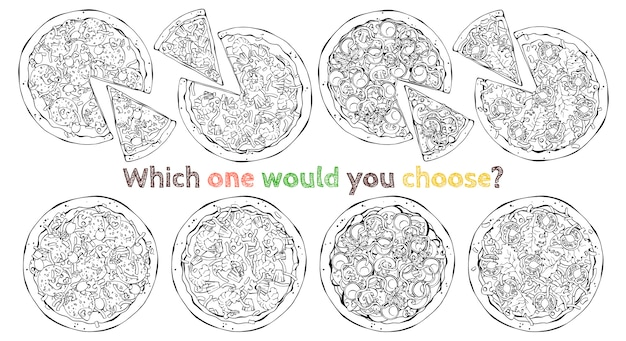 Ensemble de différents types de pizzas vectorielles. esquisser.