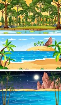 Ensemble de différents types de scènes horizontales de forêt