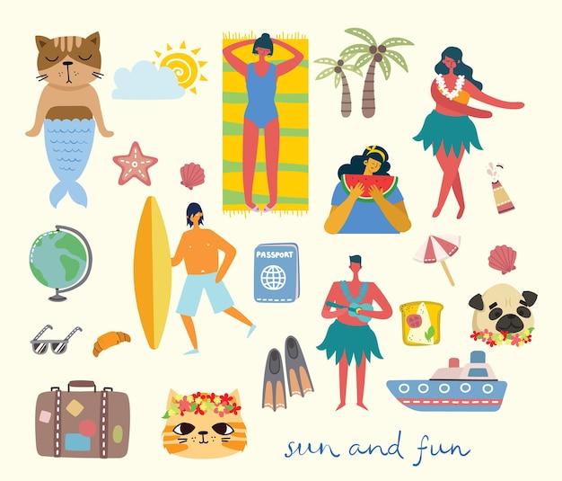 Ensemble de différents vecteurs de voyage d'été et d'icônes dans l'orgelet plat