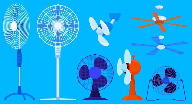 Ensemble de différents ventilateurs illustrés