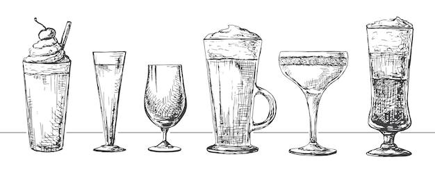 Ensemble de différents verres, différents cocktails. illustration d'un style d'esquisse.