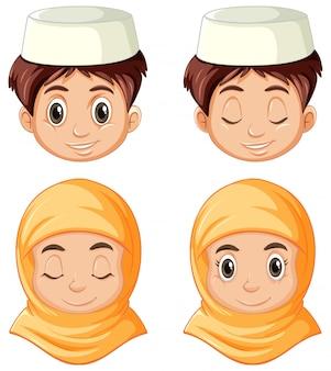 Ensemble de différents visages de musulmans arabes en vêtements traditionnels isolés