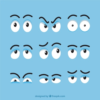 Ensemble de différents yeux expressifs pour bande dessinée