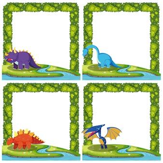 Ensemble de dinosaure sur cadres
