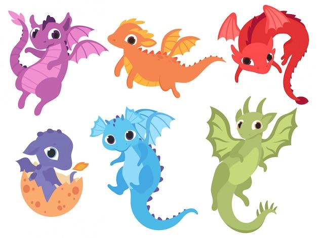 Ensemble de dinosaure de dessin animé. collection de dinosaures mignons ère jurassique.