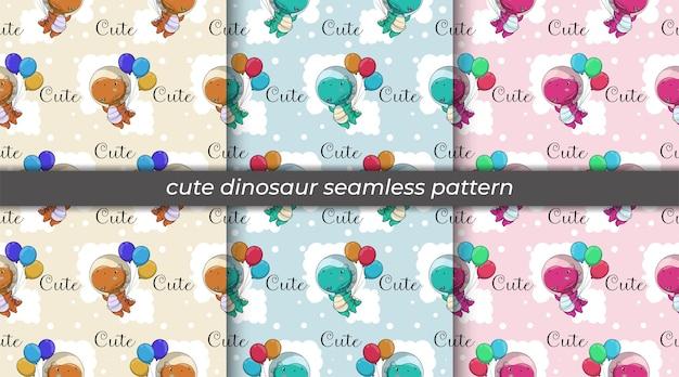 Ensemble de dinosaure dessin animé mignon volant avec modèle sans couture de ballons