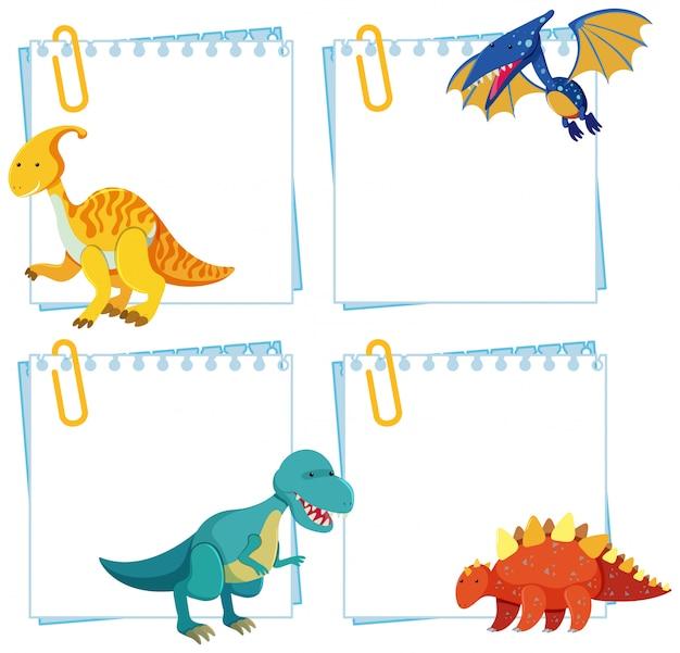 Ensemble de dinosaure sur modèle de note