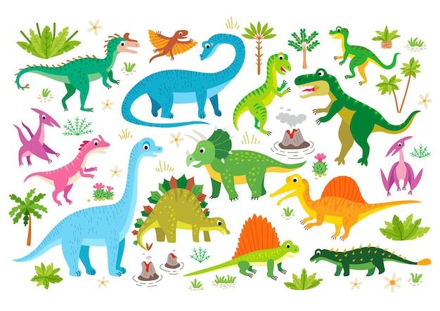 Ensemble de dinosaure plat mignon lézard préhistorique de dessin animé