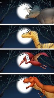 Un ensemble de dinosaures et de clair de lune