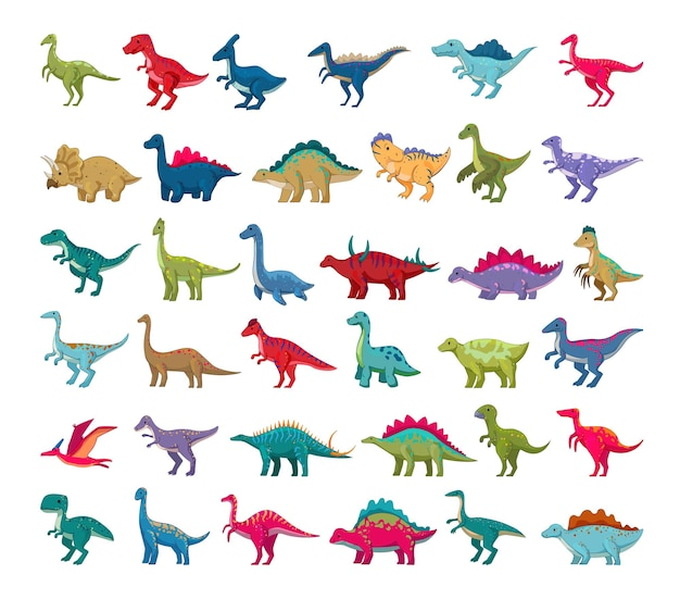Ensemble de dinosaures colorés de dessin animé