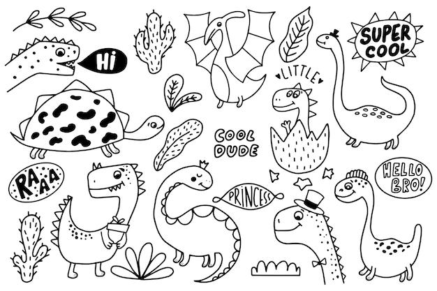 Ensemble de dinosaures drôles dessinés à la main.