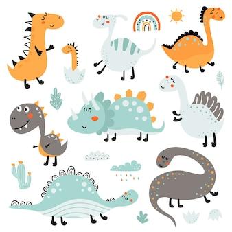 Ensemble de dinosaures mignons isolé sur blanc
