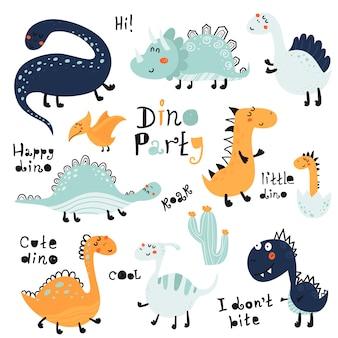 Ensemble de dinosaures mignons isolés