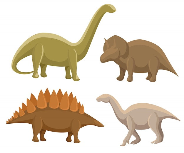 Ensemble de dinosaures. stégosaure, tricératops, iguanodon, diplodocus. illustration sur blanc. ensemble coloré de monstres mignons fantastiques, d'animaux et de personnage préhistorique