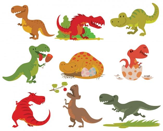 Ensemble de dinosaures t-rex.