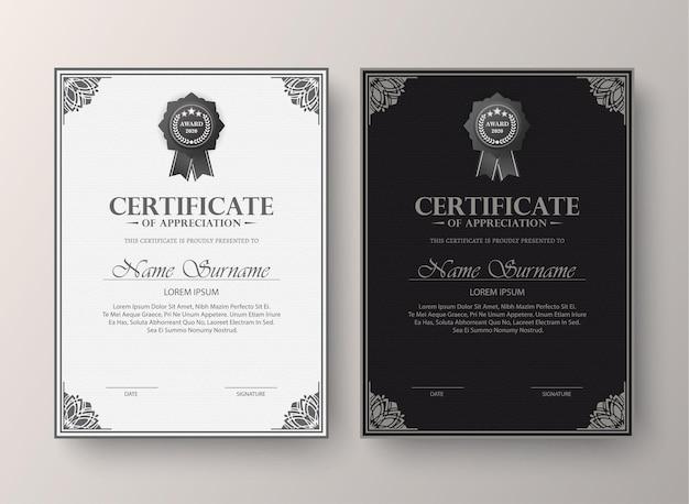 Ensemble de diplôme de meilleur certificat classique.