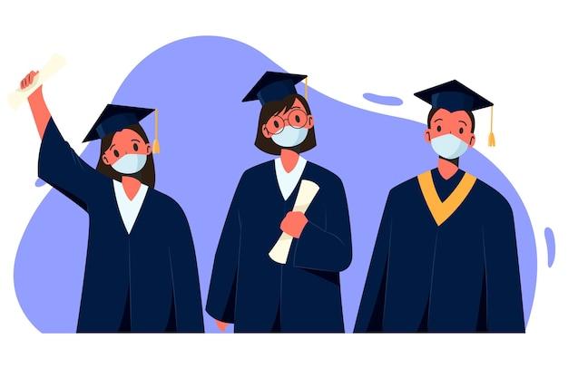 Ensemble de diplômés portant des masques médicaux
