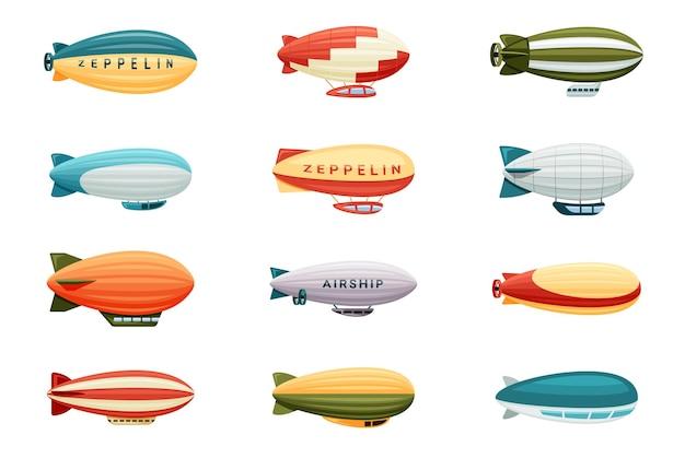 Ensemble de dirigeables de passagers. ballons en forme de zeppelin rétro aux couleurs vives avec cabines à rayures
